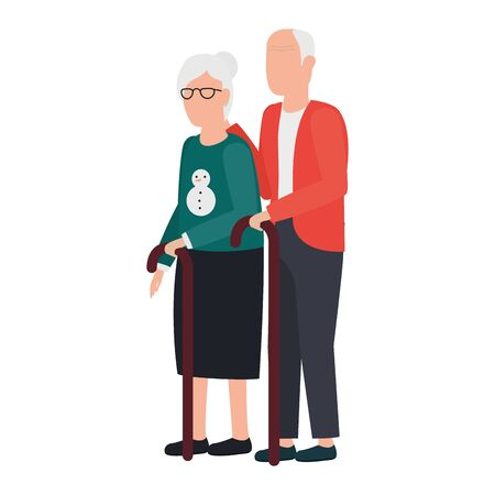 cute grand parents avatars characters vector illustration design