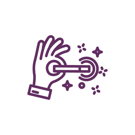 hand with wand magic sorcery isolated icon vector illustration design
