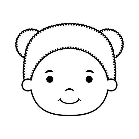 cute little girl head character vector illustration design