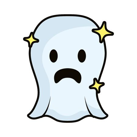 ghost floating comic character icon vector illustration design