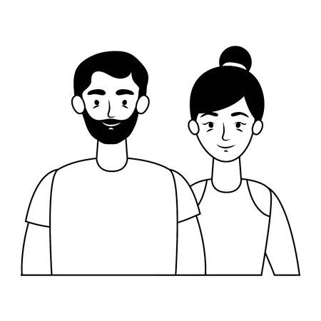 young lovers couple avatars characters vector illustration design