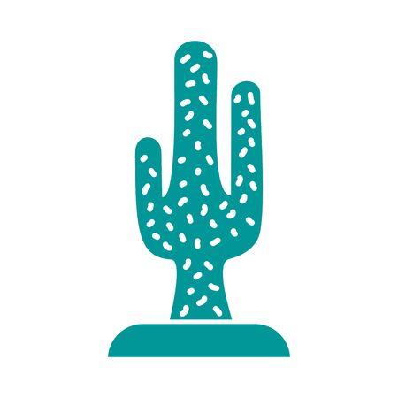 cactu plant silhouette style icon vector illustration design