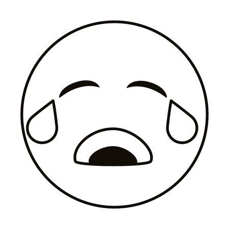 crying emoji face line style icon vector illustration design