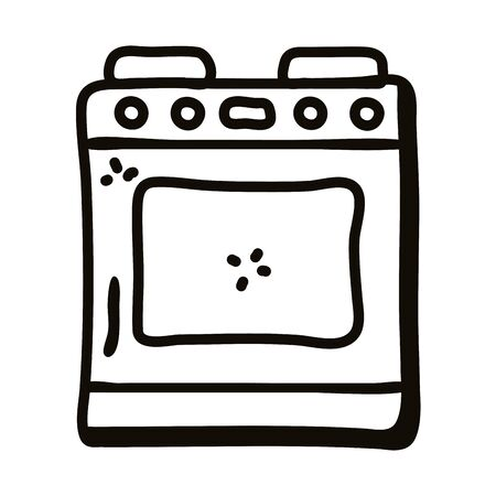 stove line style icon design, Cook kitchen eat and food theme Vector illustration