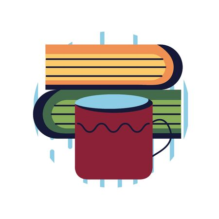 books and coffee mug flat style icon design, Education literature and read theme Vector illustration