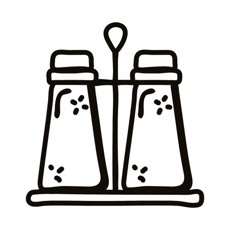 salt and pepper shaker line style icon design, Cook kitchen eat and food theme Vector illustration