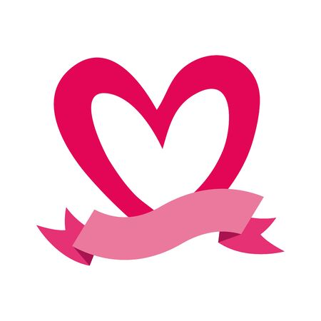 valentines heart love with ribbon vector illustration design