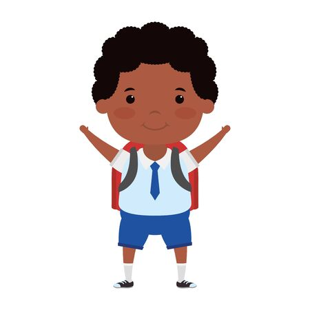cute afro student boy character vector illustration design