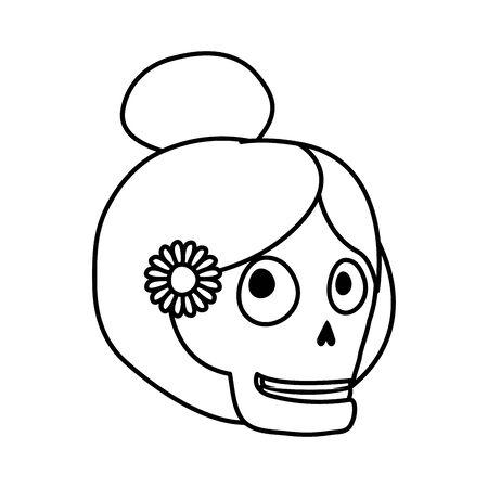 katrina skull head comic character vector illustration design Vettoriali