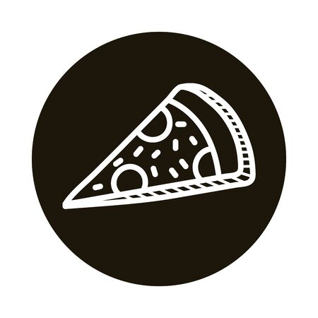 pizza food doodle block style icon vector illustration design