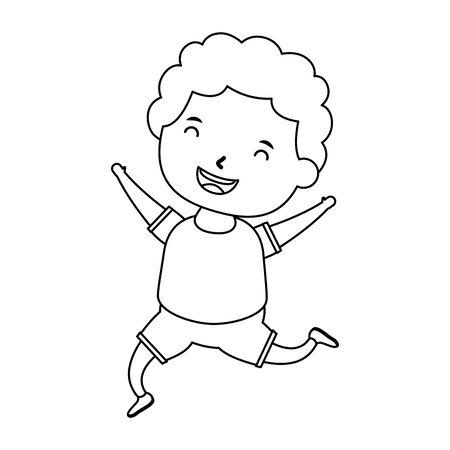 cute little boy comic character vector illustration design Vettoriali
