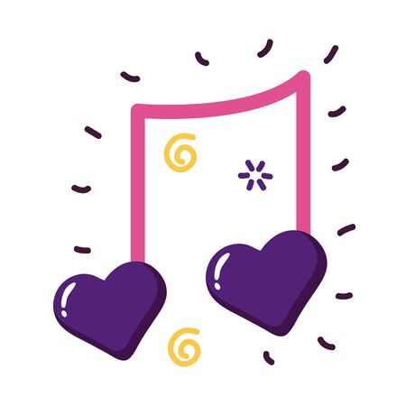 Hearts music note flat style icon design of love passion and romantic theme Vector illustration 일러스트