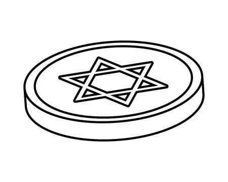 happy hanukkah celebration coin with star vector illustration design 일러스트