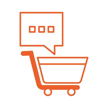 shopping cart market with speech bubble vector illustration design