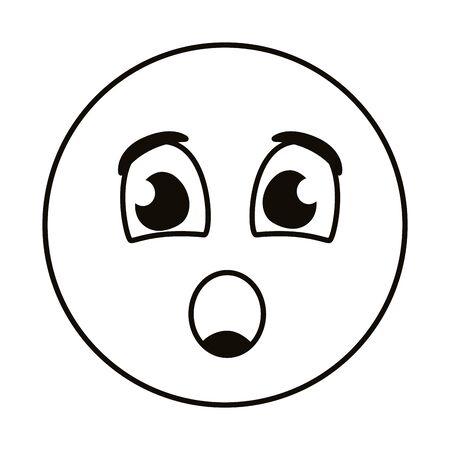 terrified emoji face line style vector illustration design
