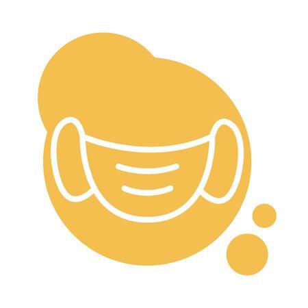 face mask accessory block style vector illustration design