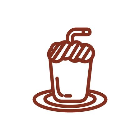 ice coffee in cup drink line style icon vector illustration design