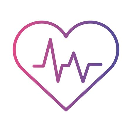 medical heart cardiology pulse linear gradient style icon vector illustration design