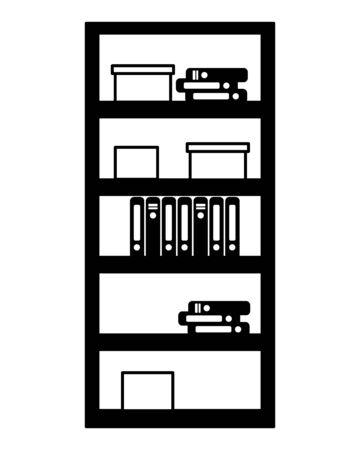 office bookshelf boxes furniture vector illustration design