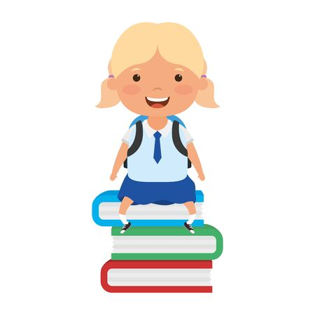 cute little student blond girl seated in books vector illustration design