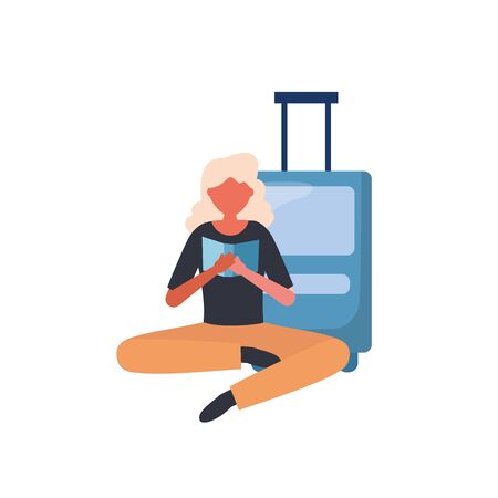 Woman with travel bag design, Cancelled flights travel and airport theme Vector illustration Vectores