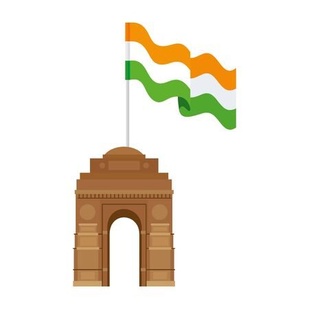 india gate, famous monument with flag of india vector illustration design