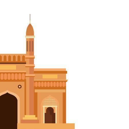 gateway, famous monument of india on white background vector illustration design