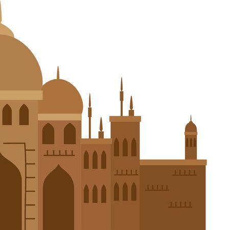 taj mahal, famous monument of india vector illustration design