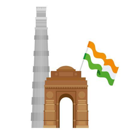 india gate with the qutub minar famous monuments and flag of india vector illustration design Vektoros illusztráció