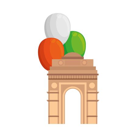 india gate, famous monument of india with balloons helium vector illustration design
