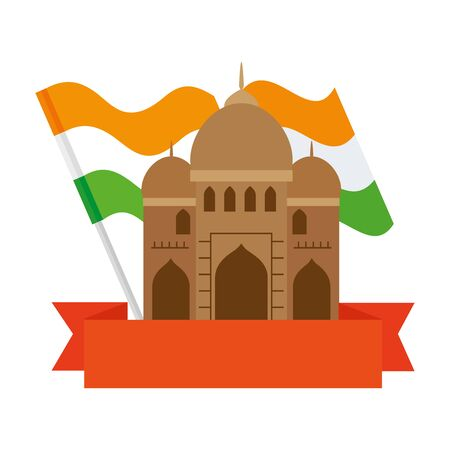 india mosque, famous monument of india with flag india and ribbon vector illustration design