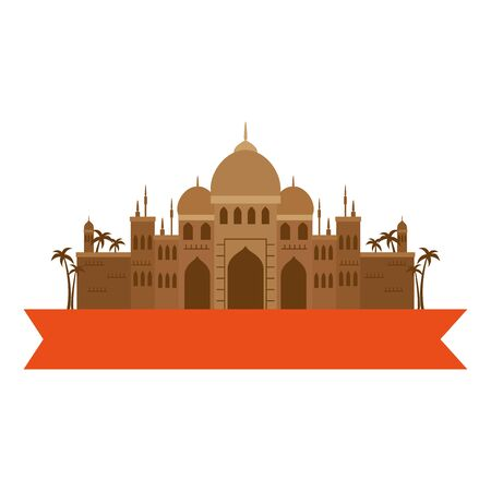taj mahal, famous monument of india with ribbon vector illustration design