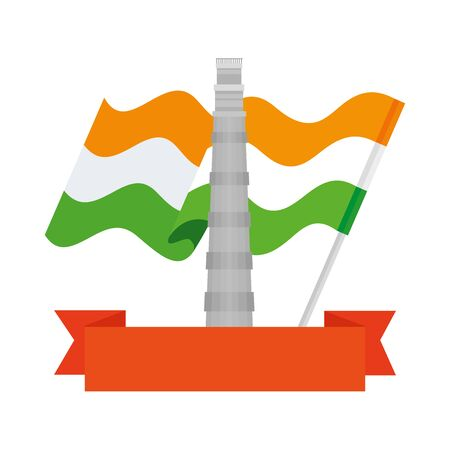the qutub minar famous monument with flag india and ribbon vector illustration design