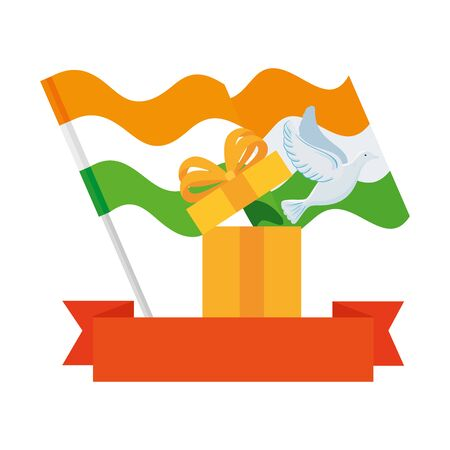 white dove coming out of gift box with flags india and ribbon on white background vector illustration design