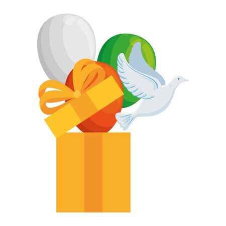 white dove coming out of gift box and balloons helium on white background vector illustration design