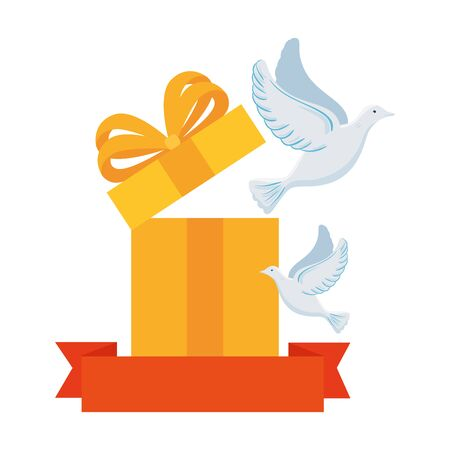 white doves with gift box and ribbon on white background vector illustration design
