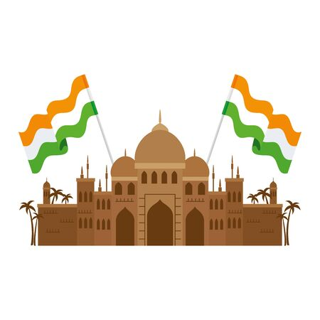 taj mahal, famous monument with flags india vector illustration design