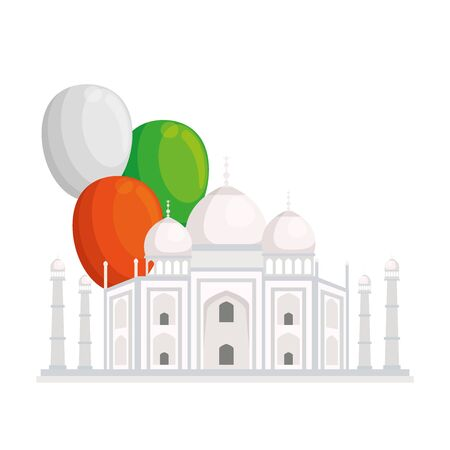 taj mahal, famous monument of india with balloons helium decoration vector illustration design
