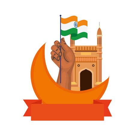 gateway, famous monument of india with moon and flag vector illustration design Ilustrace