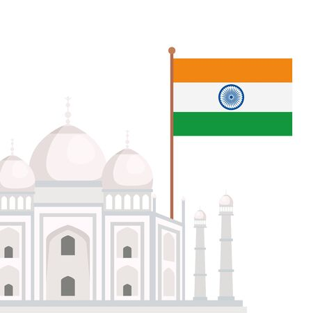 taj mahal, famous monument with flag of india vector illustration design
