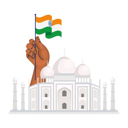 taj mahal, famous monument and hand with flag of india vector illustration design