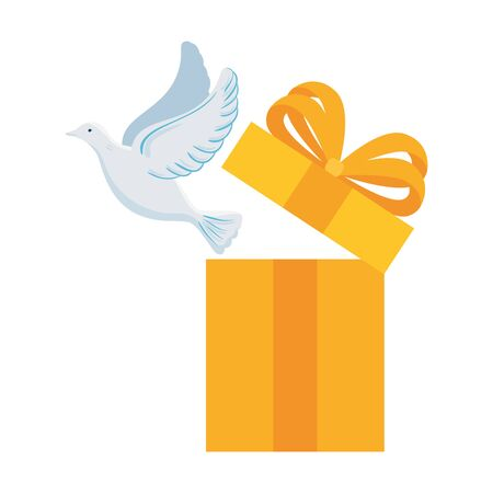 white dove coming out of gift box on white background vector illustration design