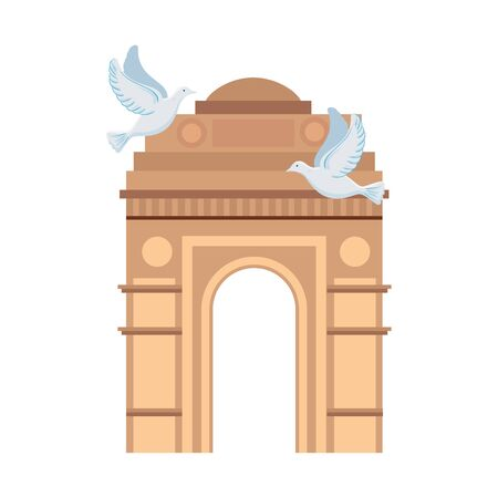 india gate, famous monument of india with white doves flying vector illustration design Ilustração