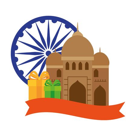 india mosque, famous monument with blue ashoka wheel indian and gift boxes vector illustration design