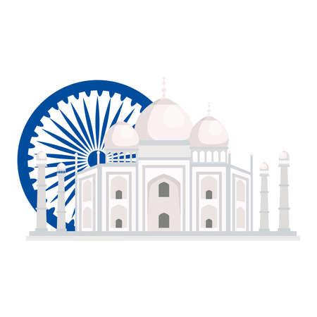taj mahal, famous monument with blue ashoka wheel indian symbol vector illustration design