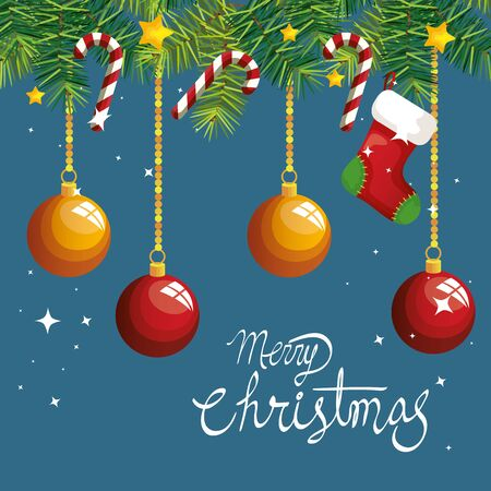 merry christmas poster with balls hanging and decoration vector illustration design