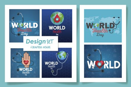 set six designs of world health day vector illustration design 일러스트