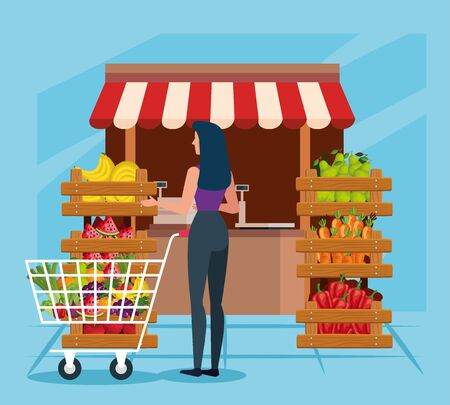 natural store with vegetables and fruits with woman customer over blue background, vector illustration
