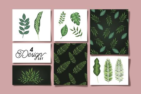 set of four designs leafs tropicals vector illustration design Ilustracja