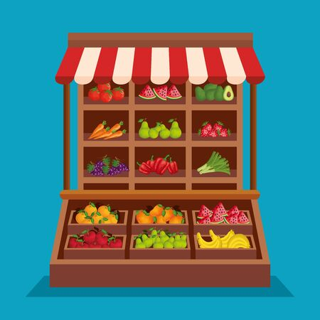 fresh fruits and healthy vegetables products to natural store, vector illustration Ilustrace